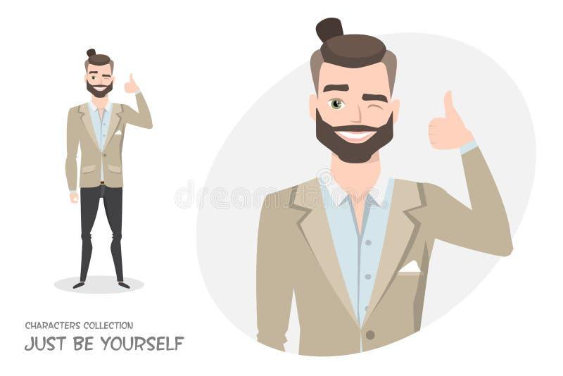 Positiver Kerl lächelnd und empfohlen vektor abbildung