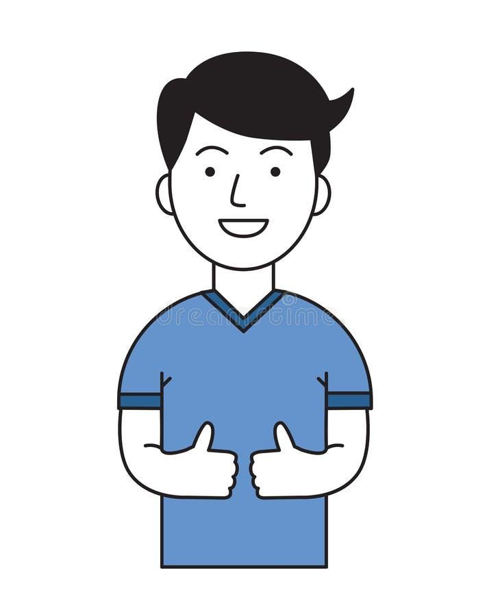 Positiver lustiger Kerl, der sich Daumen zeigt Aktiver Lebensstil Karikaturdesignikone Flache Vektorillustration Lokalisiert auf  lizenzfreie abbildung