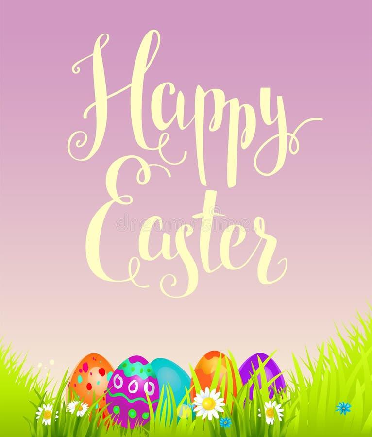 Positiver Ostern-Hintergrund mit Blumen lizenzfreie abbildung