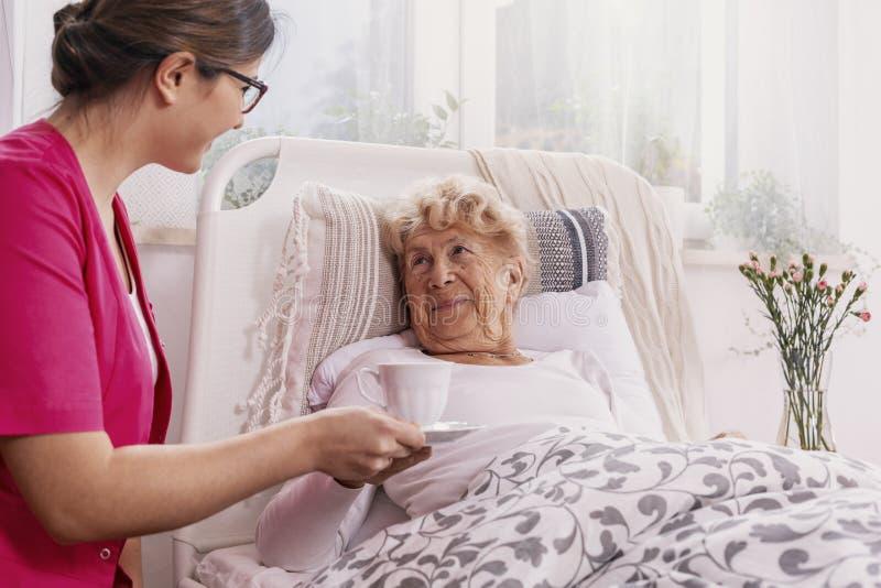 Positiver Patient, der im Krankenhausbett mit hilfreicher Krankenschwester in der rosa Uniform an ihrem Standort liegt lizenzfreies stockbild
