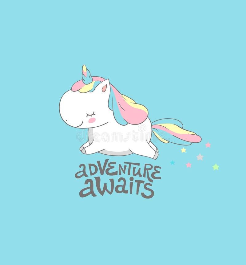 Positives Baby Unicorn Fly, zum des Druckes zu wagen Morgen-Motivinspirations-Sommer-Plakat-bunter Entwurf lustig stock abbildung