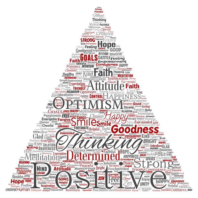 Positives Denken des Vektors, glückliche starke Haltung lizenzfreie abbildung