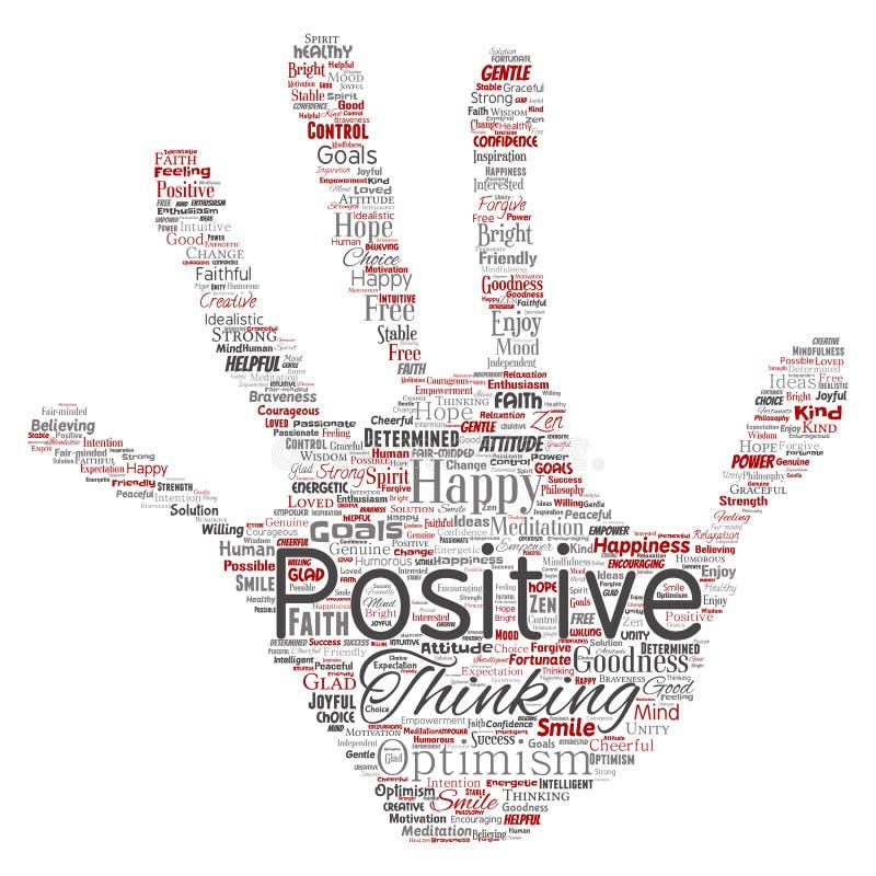 Positives Denken des Vektors, glückliche starke Haltung vektor abbildung