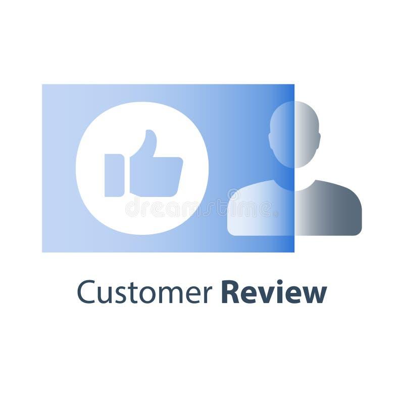 Positives Feedback, Kundenon-line-Bericht, Benutzererfahrung, Loyalitätsprogramm, Daumen oben, Meinungsrate, Qualitätsübersicht lizenzfreie abbildung