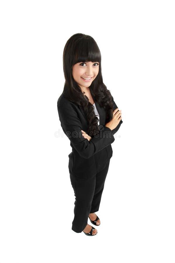 Positives Geschäftsfraulächeln stockfotos