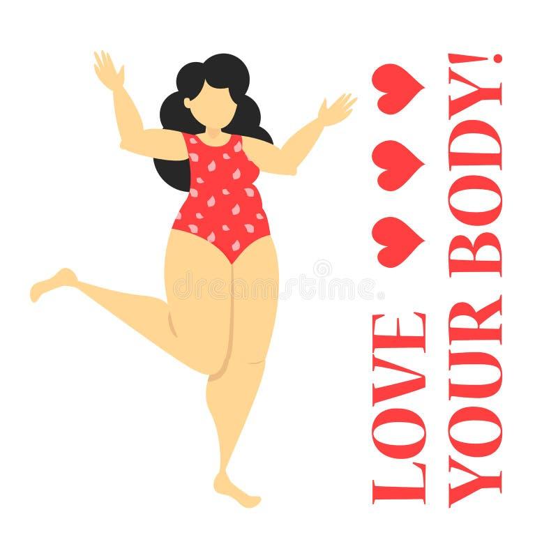 Positives Konzept des schönen fetten Frauenkörpers Glückliches Mädchen stock abbildung