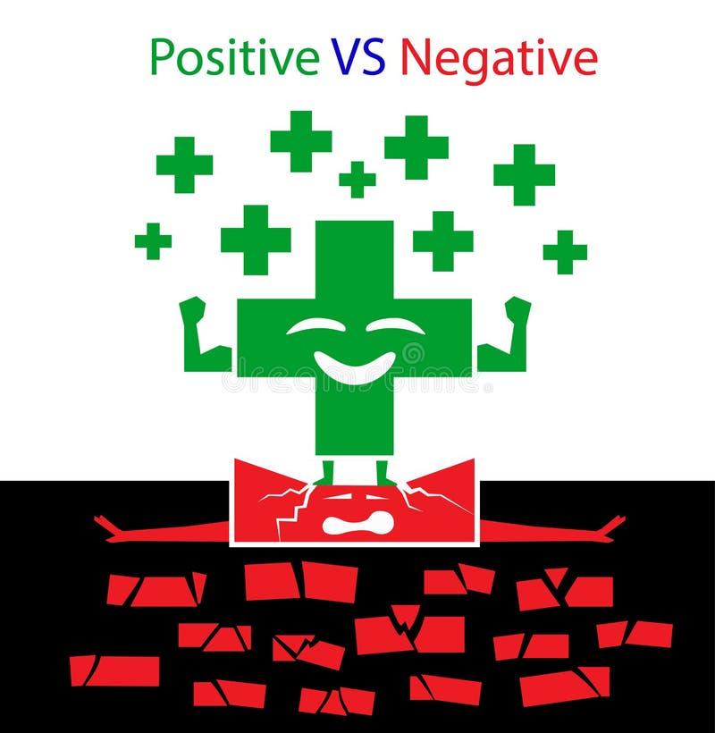 Positivo CONTRO il concetto negativo illustrazione di stock