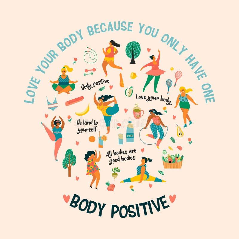 Positivo do corpo Feliz mais meninas do tamanho e o estilo de vida saudável ativo ilustração do vetor