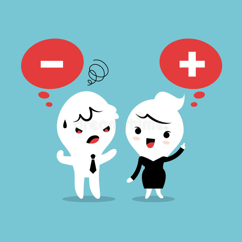 Positivo e historieta de pensamiento negativa stock de ilustración