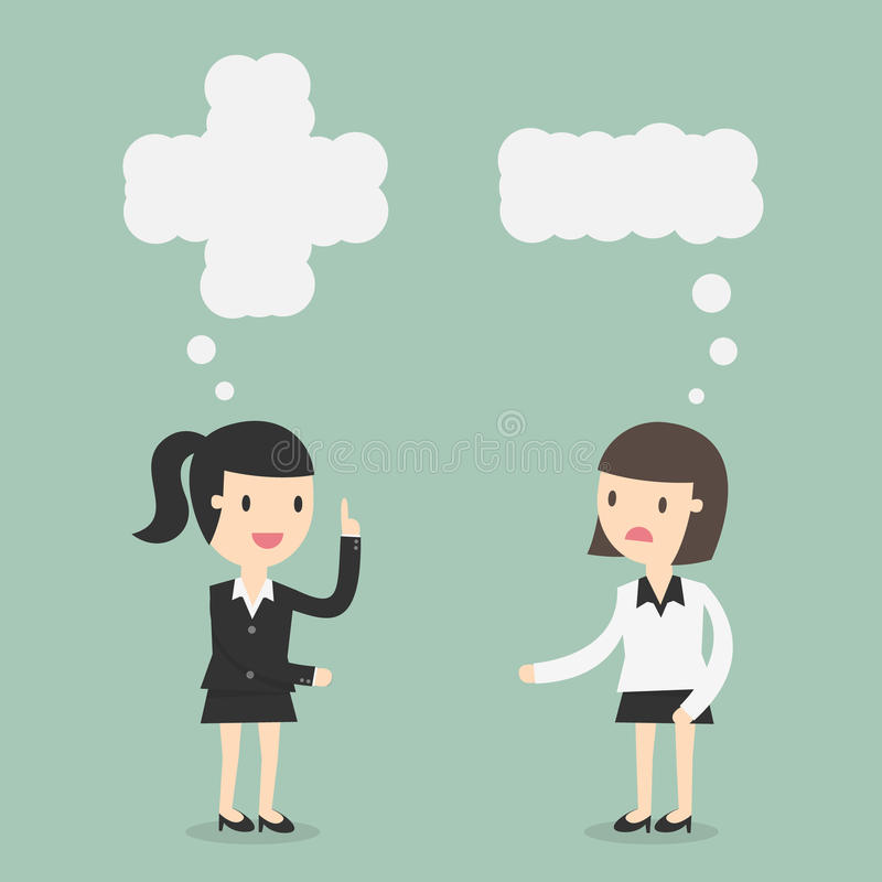 Positivo e pensiero negativo royalty illustrazione gratis