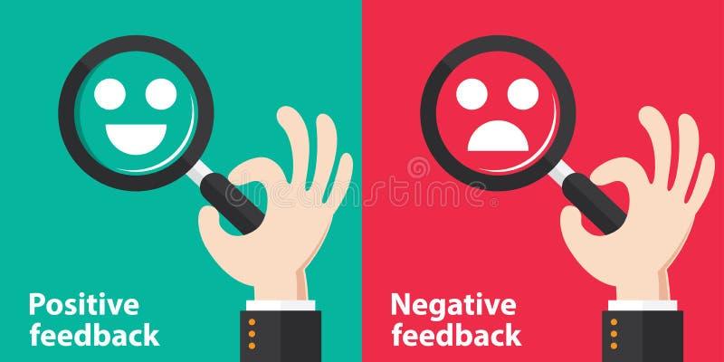 Positivo e reação negativa ilustração stock