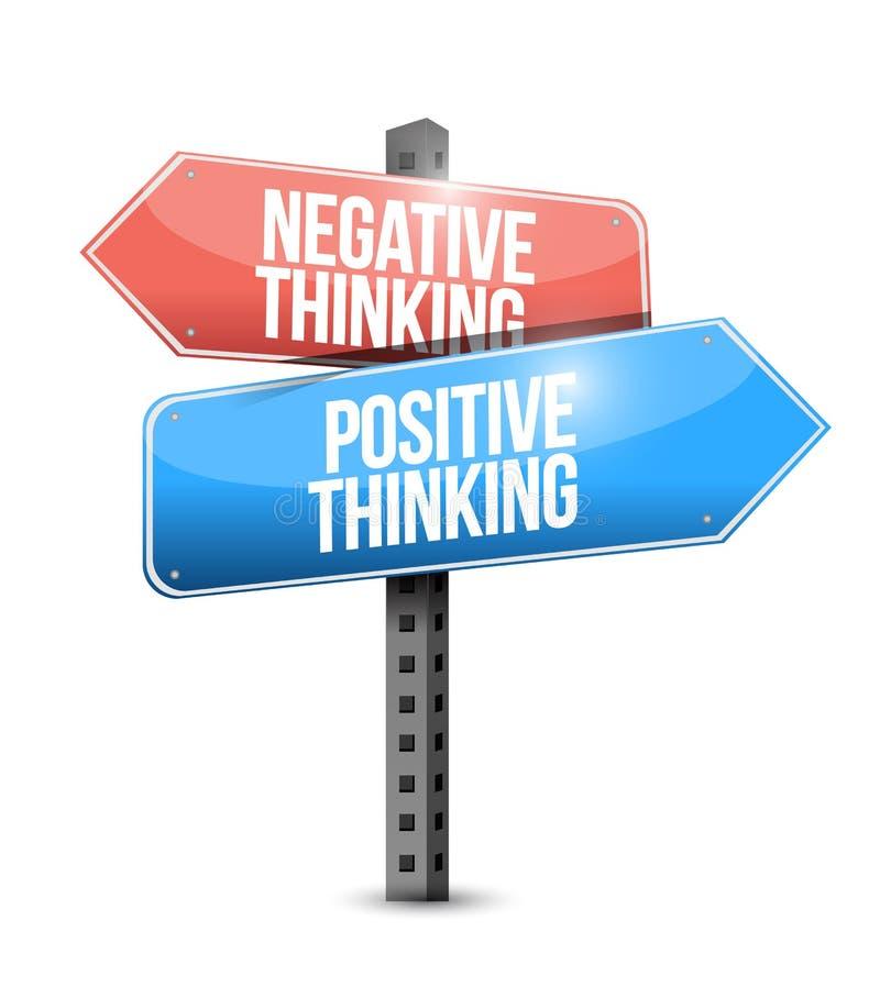 Positivo e segnale stradale di pensiero negativo illustrazione vettoriale