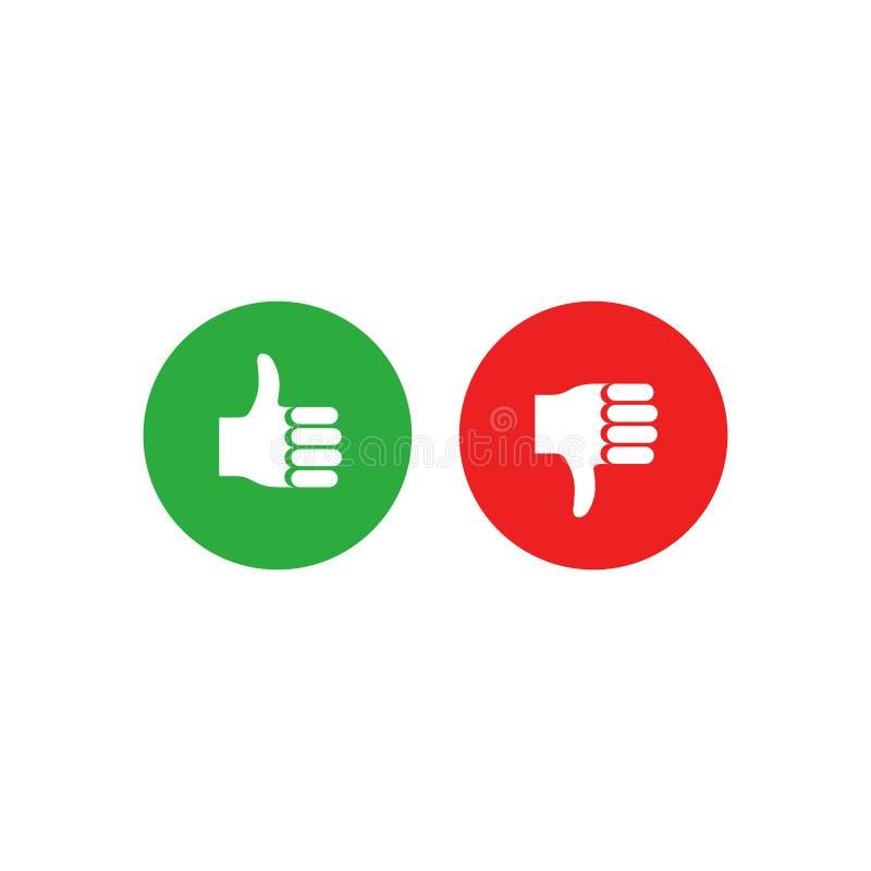 Positivo y colección del voto negativo stock de ilustración