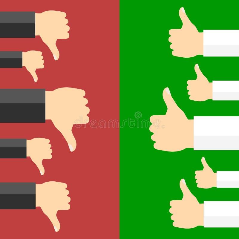 Positivo y concepto del voto negativo stock de ilustración