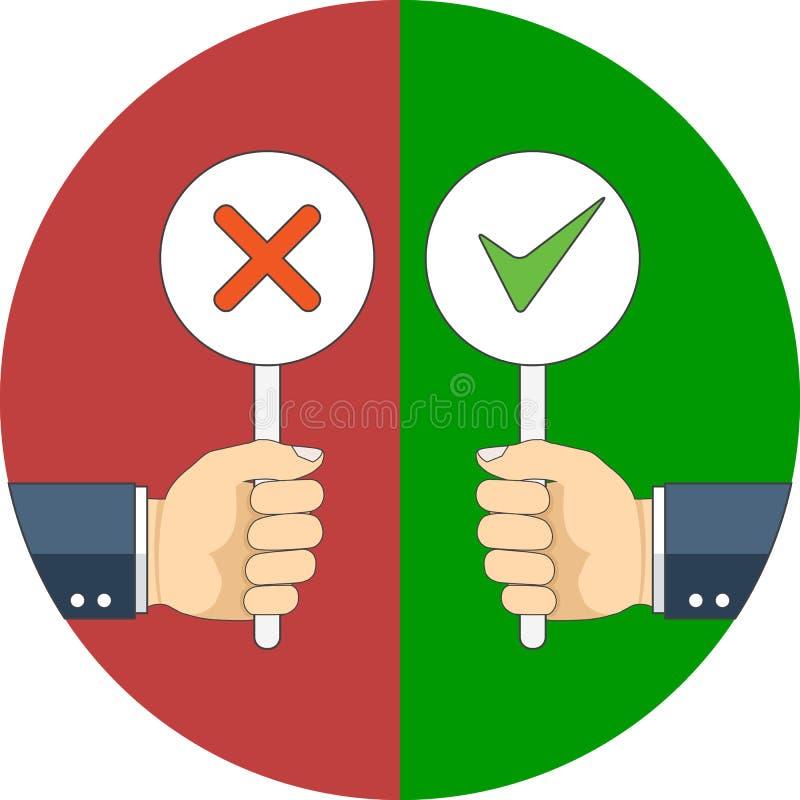 Positivo y concepto del voto negativo Diseño plano stock de ilustración