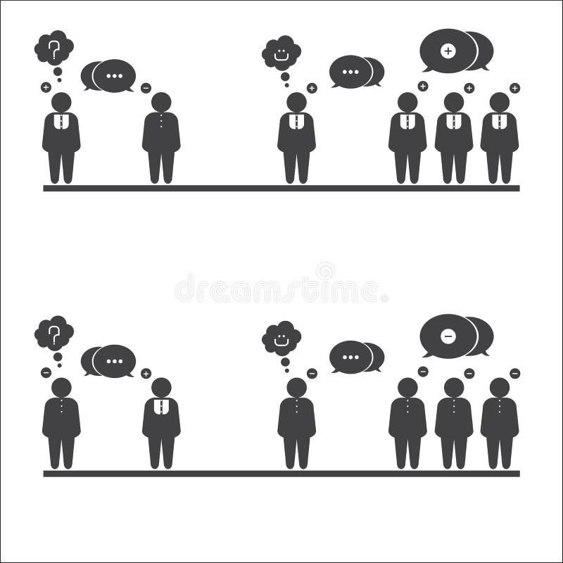 Positivo y negativa stock de ilustración