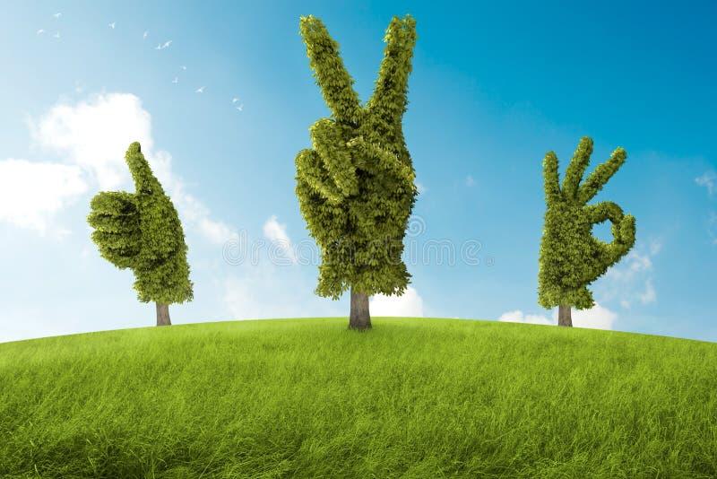 Positivt träd royaltyfri illustrationer