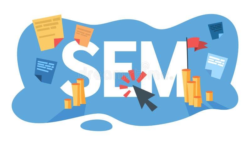 Posizionamento di SEM per la promozione di affari royalty illustrazione gratis