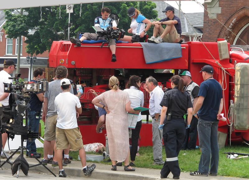 Posizione del tiro della pellicola di una scena di incidente. fotografia stock