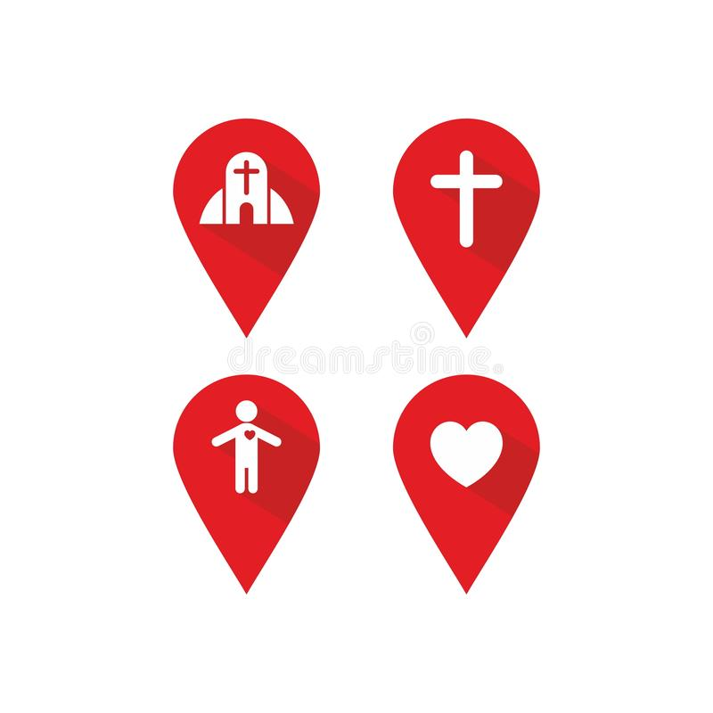 Posizione dell'etichetta e direzione cristiane, icone royalty illustrazione gratis