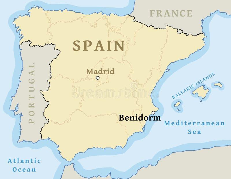 Posizione della mappa di Benidorm illustrazione di stock