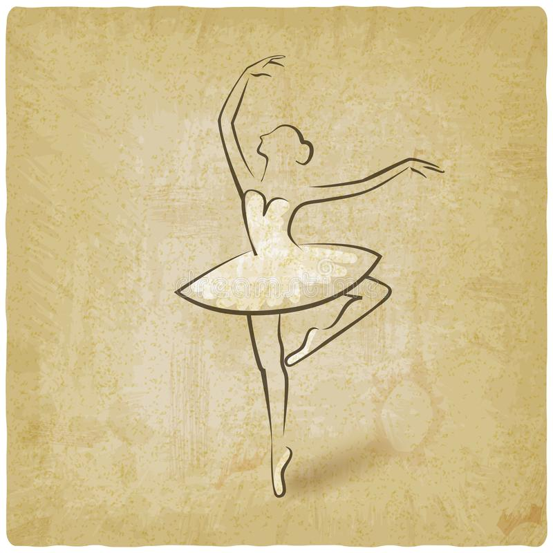 Posizione di balletto di schizzo fondo dell'annata di simbolo dello studio di dancing royalty illustrazione gratis