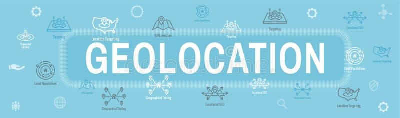 Posizione di Geo che mira con il posizionamento di GPS e l'insegna di intestazione di web dell'insieme dell'icona di Geolocation illustrazione vettoriale