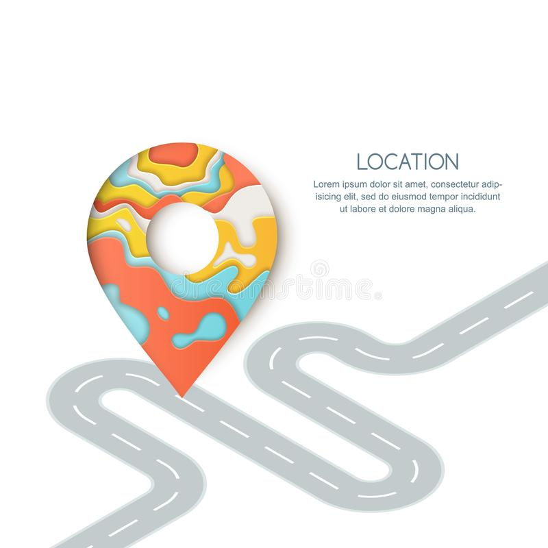 Posizione di modo di strada e navigazione di GPS La carta ha tagliato l'illustrazione del simbolo della mappa del perno, dell'ind illustrazione di stock