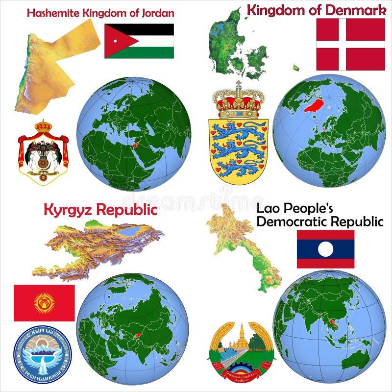 Posizione Giordania, Danimarca, Kirghizistan, Laos illustrazione vettoriale