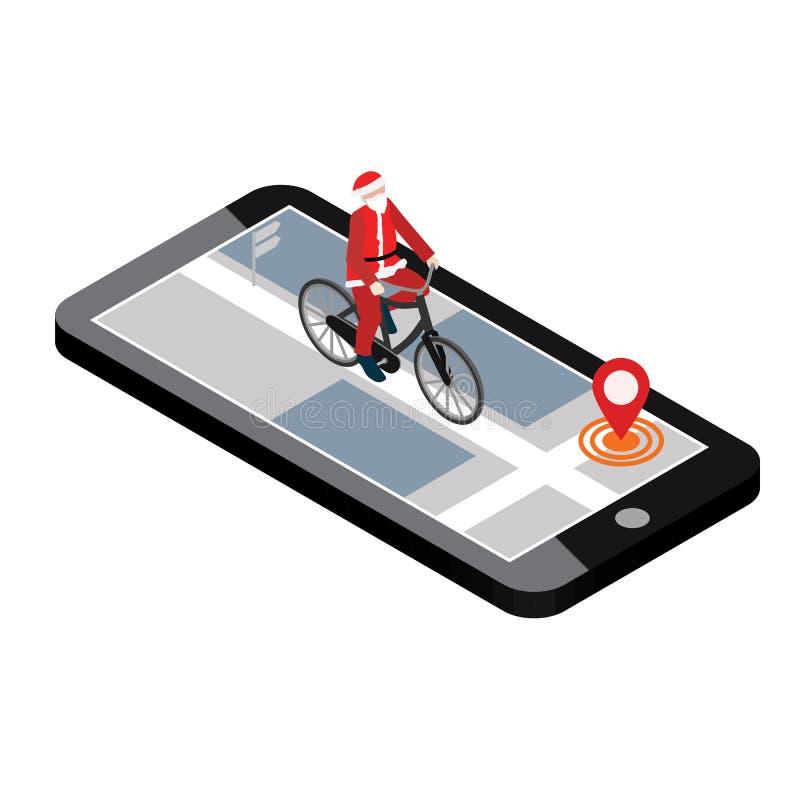Posizione isometrica Inseguimento mobile di geo Santa Claus su una bici programma royalty illustrazione gratis