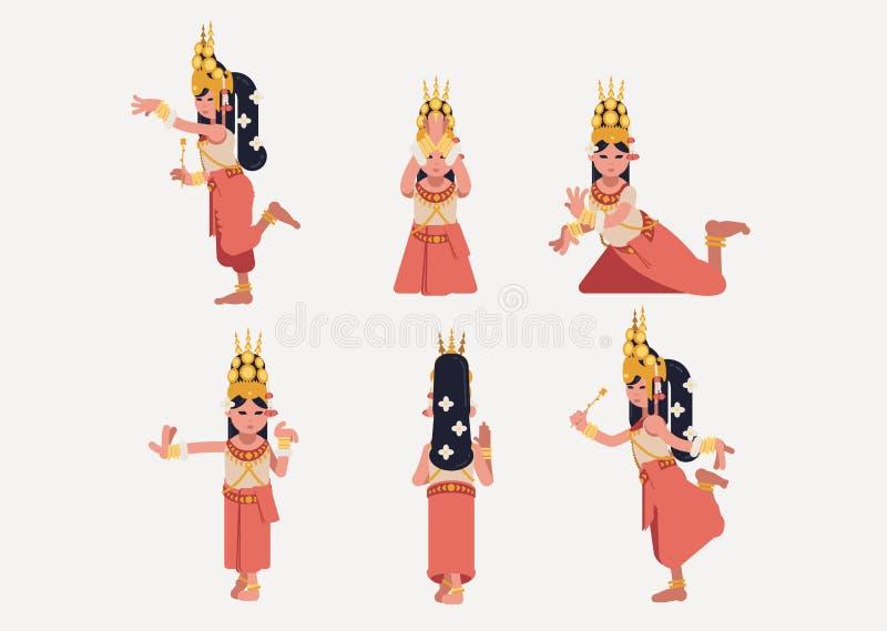 Posizione khmer di ballo tradizionale di Apsara - piano-progettazione illustrazione vettoriale