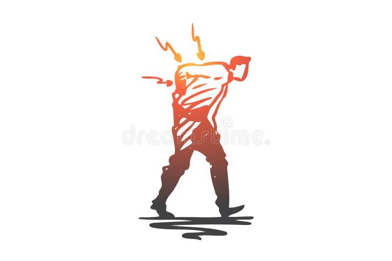 Posizione, Male, spina dorsale, dolore, parte posteriore, concetto di problema Vettore isolato disegnato a mano royalty illustrazione gratis