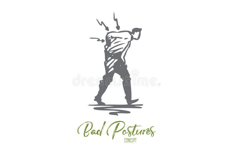 Posizione, Male, spina dorsale, dolore, parte posteriore, concetto di problema Vettore isolato disegnato a mano illustrazione vettoriale
