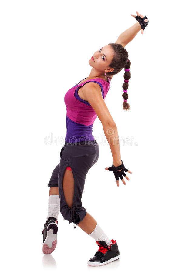Posizione moderna del danzatore della donna di stile fotografie stock libere da diritti