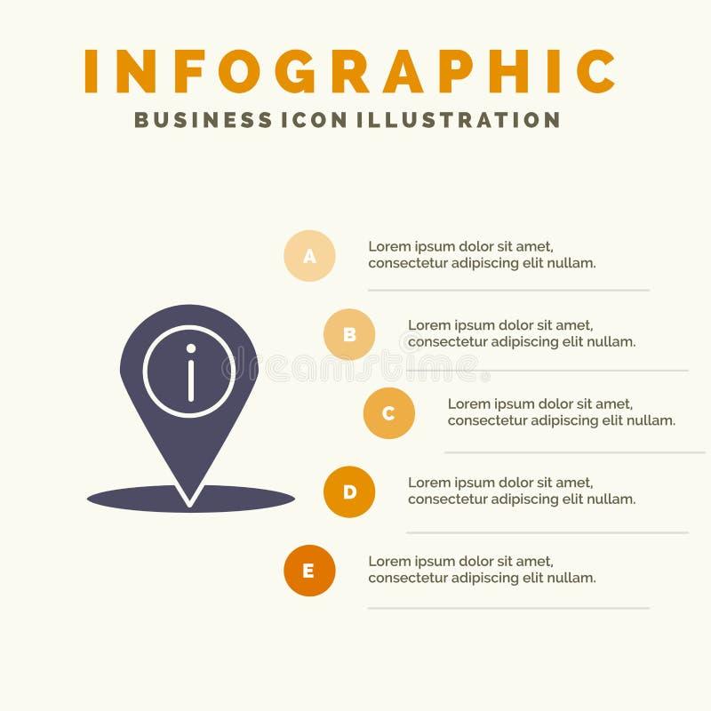 Posizione, navigazione, posto, fondo solido di presentazione di punti di Infographics 5 dell'icona di informazioni illustrazione vettoriale