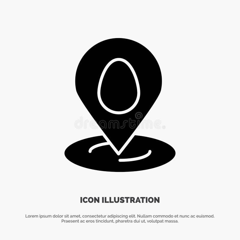 Posizione, Pin, mappa, vettore solido dell'icona di glifo di Pasqua illustrazione di stock
