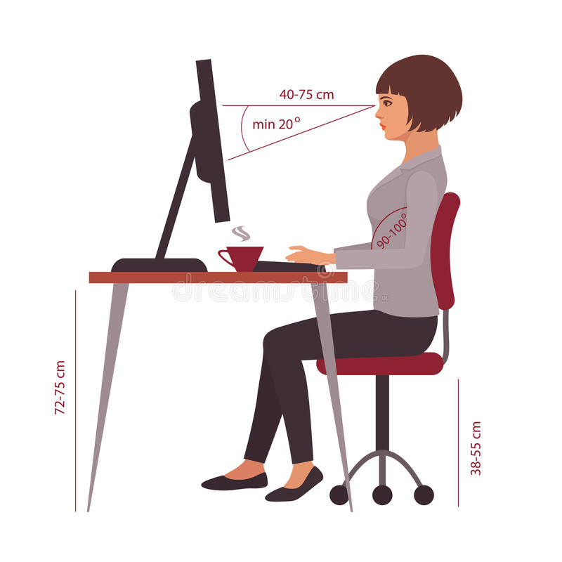 Posizione seduta corretta, posizione della scrivania illustrazione di stock