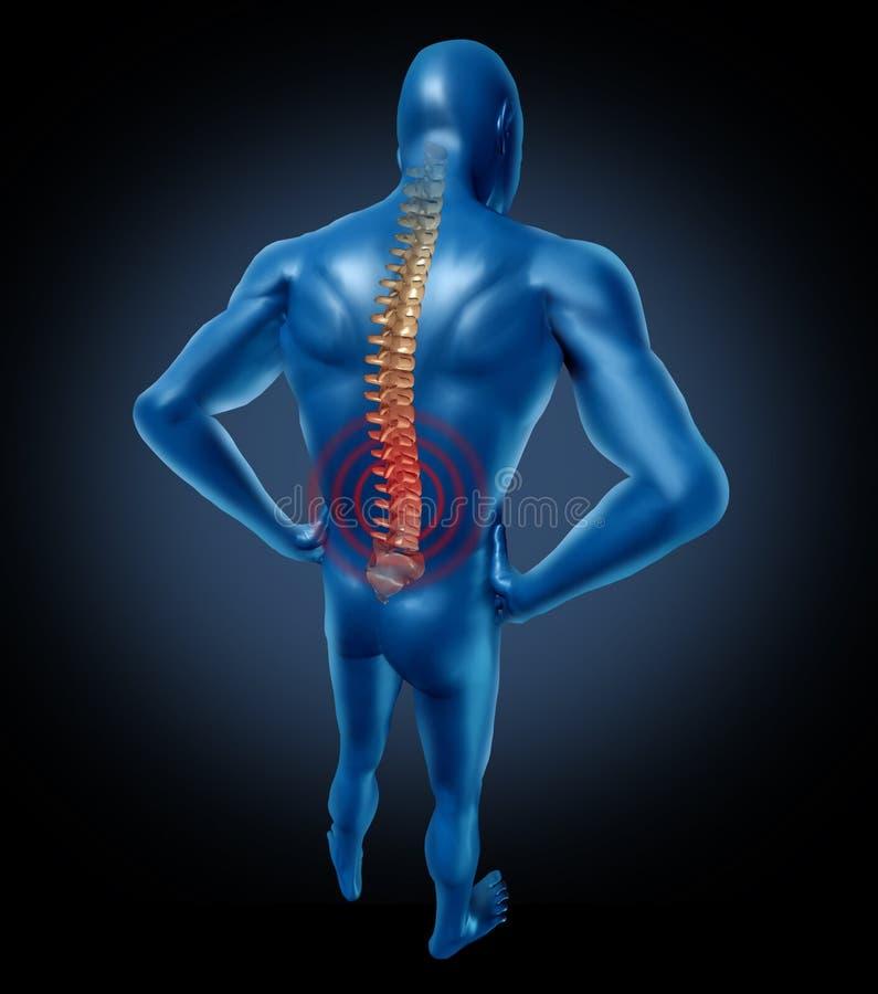 Posizione umana della spina dorsale di dolore alla schiena illustrazione di stock