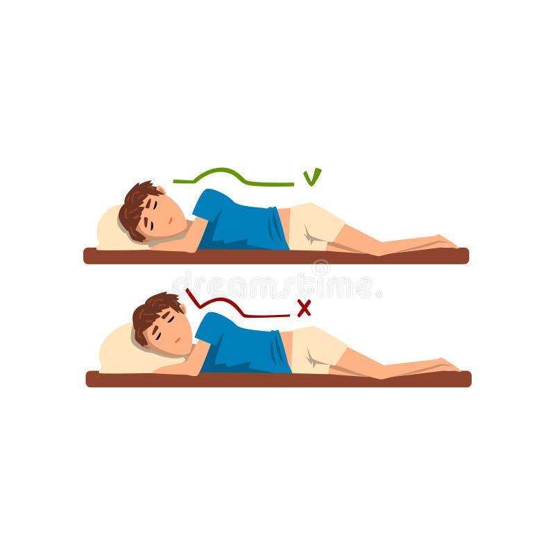 Posizioni corrette e peggiori per il sonno, ragazzo che dorme sull'illustrazione di vettore del letto su un fondo bianco illustrazione di stock