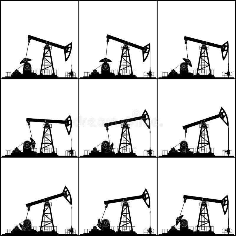 Posizioni differenti che lavorano le pompe di olio illustrazione di stock