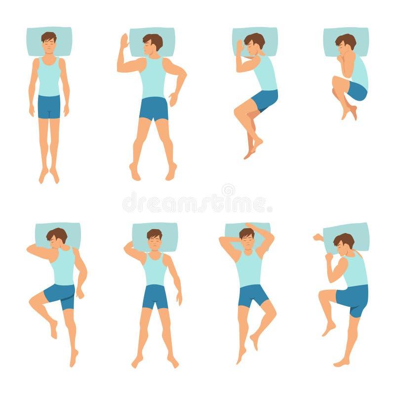 Posizioni differenti dell'uomo addormentato Illustrazioni di vettore di vista superiore illustrazione di stock