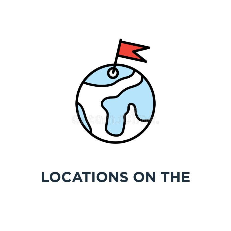 posizioni sulla mappa della terra, icona di posizioni di geo progettazione di simbolo di concetto della rete, comunicazione globa illustrazione vettoriale