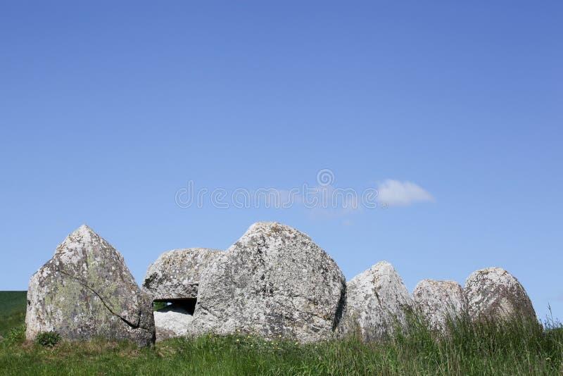 Poskaer Stenhus, luogo di sepoltura grave di Viking sulla regione di Mols in Danimarca fotografie stock libere da diritti