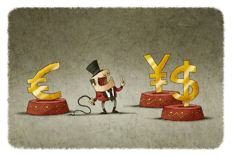 Poskromicielka z batem i różna waluta na cyrkowym podium royalty ilustracja