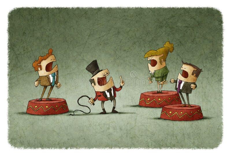 Poskromicielka z batem kontroluje biznesmenów na cyrkowym podium royalty ilustracja