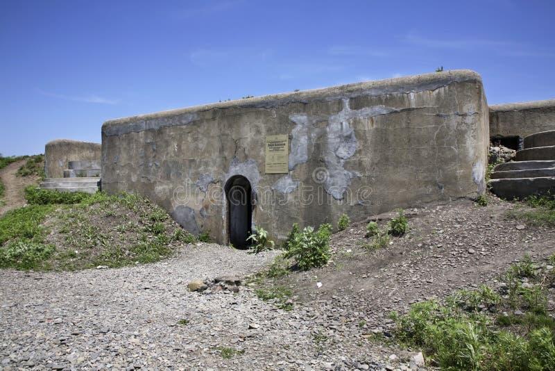 Pospelovsky battery in Vladivostok fortress. Russian island. Russia.  royalty free stock photography