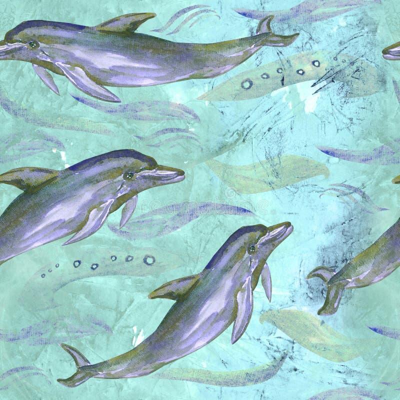 Pospolity bottlenose delfin na błękicie, zielona ocean powierzchnia z fala tłem royalty ilustracja