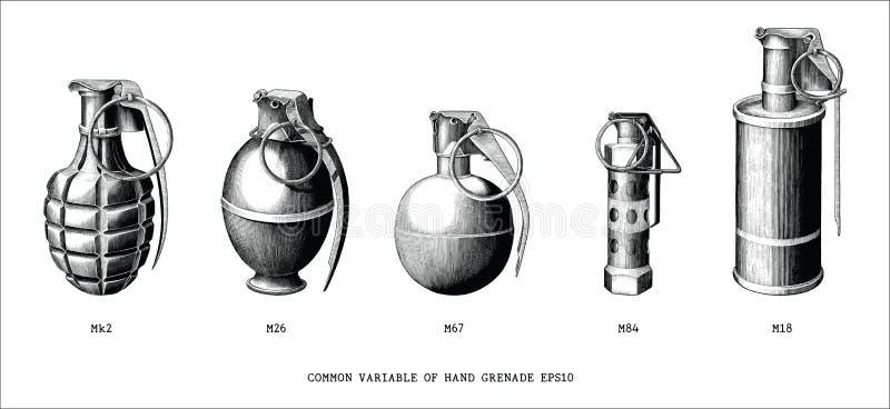 Pospolity zmienna granat ręczny ręki remisu rocznika stylu klamerki czarny i biały sztuka odizolowywająca na białym tle ilustracja wektor