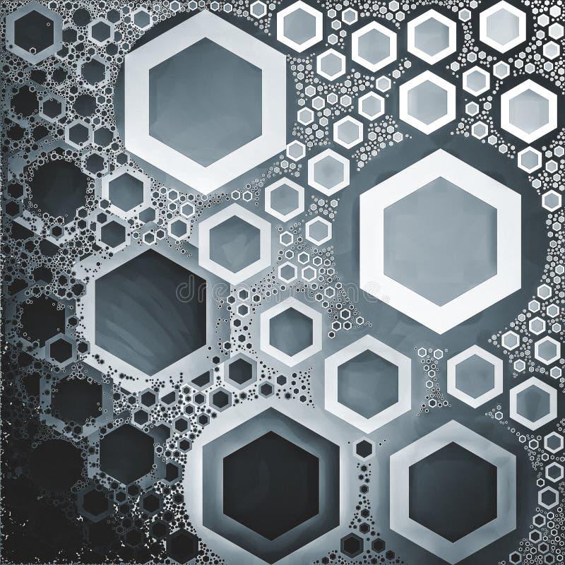 Posrebrzony barwiony heksagonalny kształtów szablonów tło zdjęcie stock