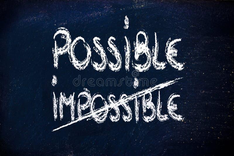 Possível contra impossíveis, conceitos do desafio no quadro-negro ilustração do vetor
